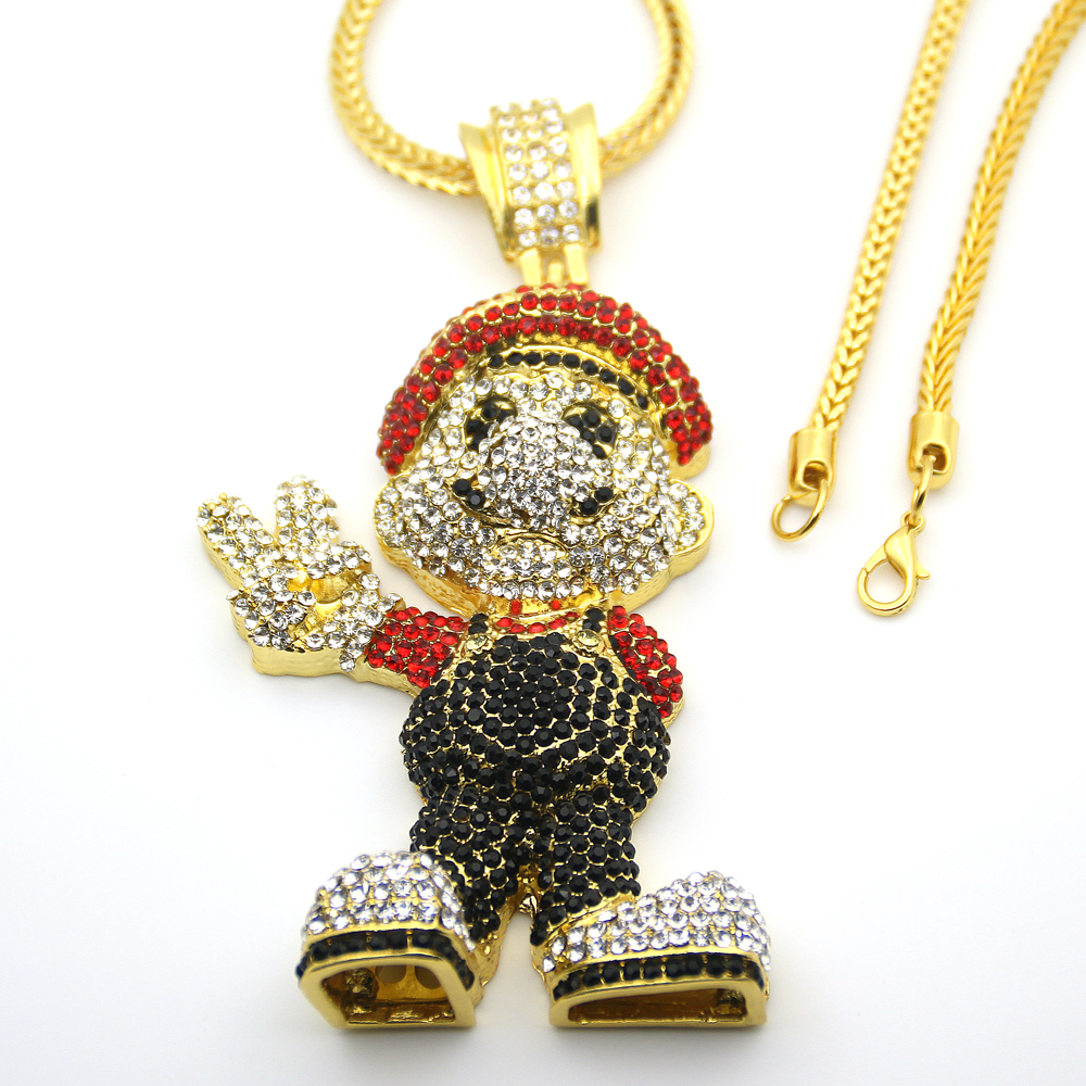 Very large size 36inch franco chain cartoon game pendant hip hop very large size 36inch franco chain cartoon game pendant hip hop necklace jewelry bling bling iced out n621 in pendant necklaces from jewelry accessories mozeypictures Choice Image