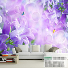 beibehang Modern Background Large Painting Hazy purple lilies wall Pared 3d Wallpaper Hotel Bad room Mural for Living Room