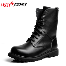 Fashion Winter Genuine Leather Dr Martin Boots Fur Martin High Top Casual Shoes Men'S Boots Ankle Botas Brand Motorcycle Boots