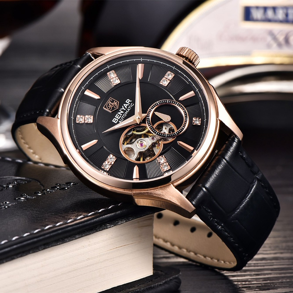 benyar hommes montres de mode de luxe automatique auto vent mecanique montres veritable bracelet. Black Bedroom Furniture Sets. Home Design Ideas