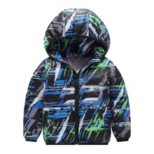 Autumn Winter Children Boys Girls Printed Thick Hooded Cool Coats Warm Kids Outerwear Cotton-Padded Coats Baby Boy Clothes цена в Москве и Питере