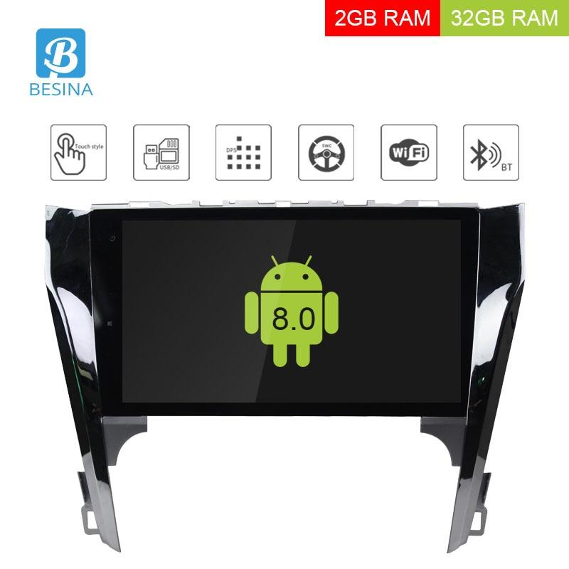 Besina 10.1 pouces Android 8.0 autoradio pour Toyota Camry 2012 lecteur multimédia GPS Navigation Audio 2G + 32G stéréo Quad cœurs