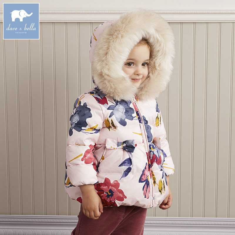 DB5730 dave bella winter infant baby girls down jacket children white duck down padding coat kids hooded outerwear