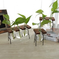 2018 New Year Creative Tabletop Wooden Plant Vase With Iron Holder Glass Stand Vase Tray Home