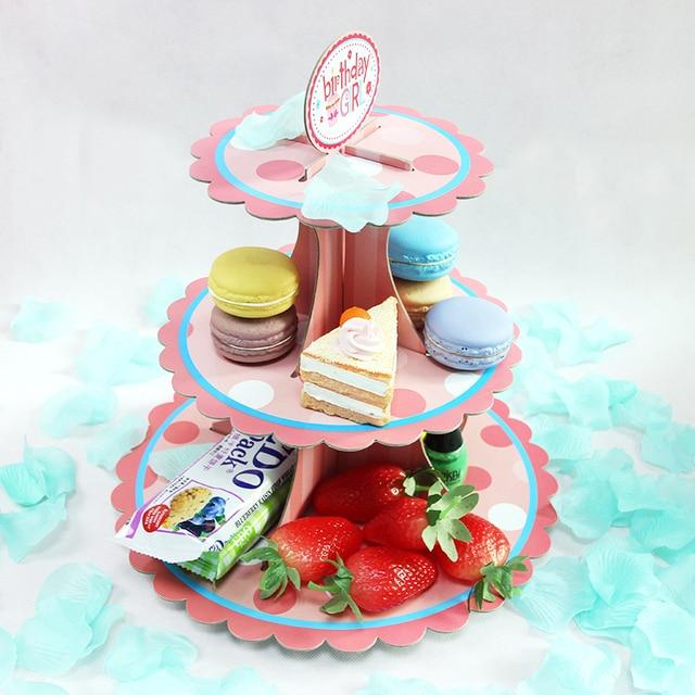 Birthday Party Supply 3 Floors Cake Paper Shelf Tray Wedding Dessert