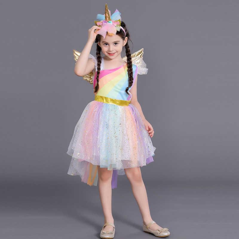 Летнее платье с цветочным узором для девочек с единорогом крыло Радуга Платья принцессы с балетной пачкой Детские костюмы на Хэллоуин для Единорог Лошадь Косплэй костюм Платья для вечеринок