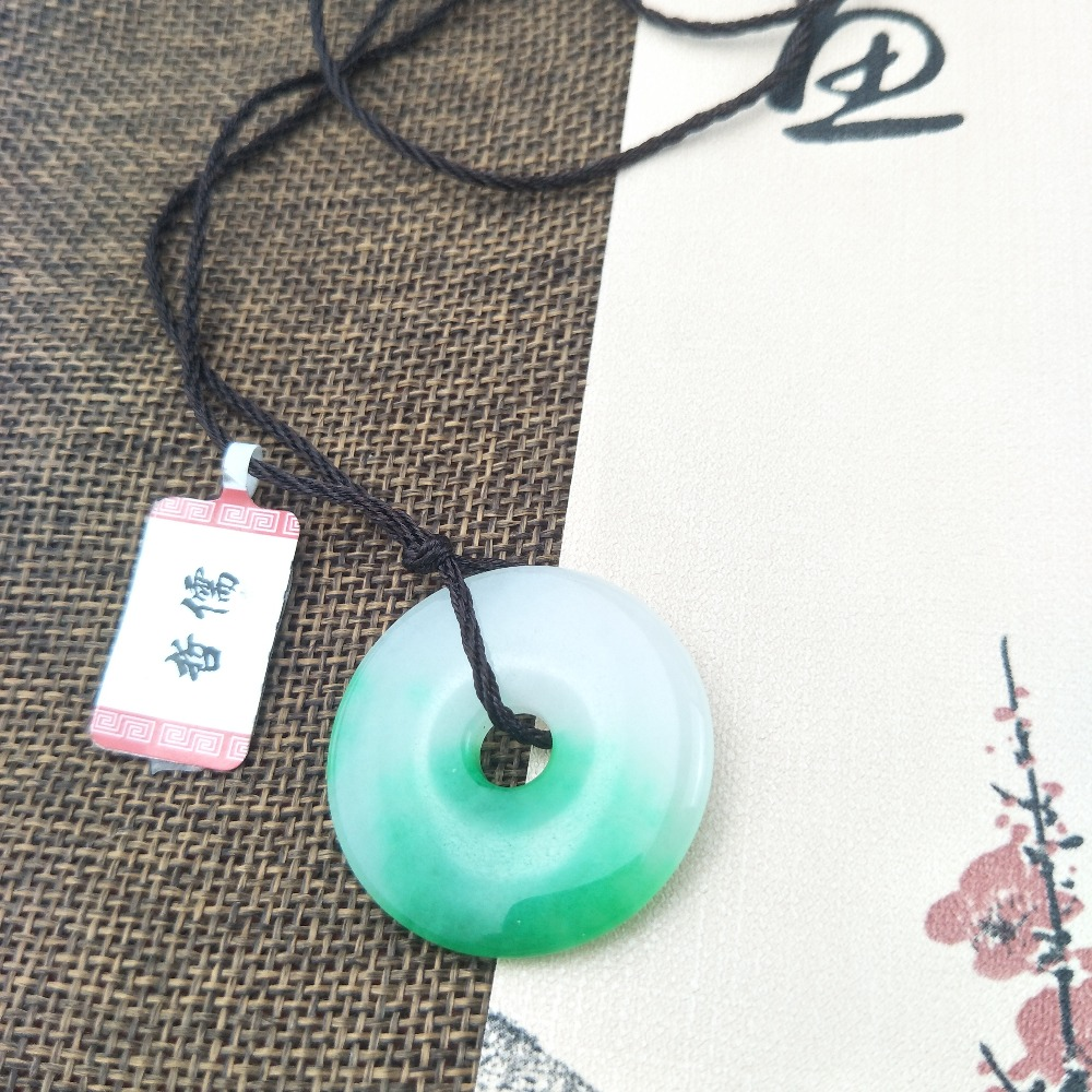 Zheru Jewelry Pure Natural Jadeite Two-Color Iced Donuts with Simple Black Rope Chain Give Class A National Certificate
