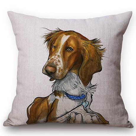 Pet Dog Animals Funny Style Cushion Cover Dachshund Schnauzer Dog Children Like Cotton Linen Sofa Decorative Throw Pillow Case M110-6