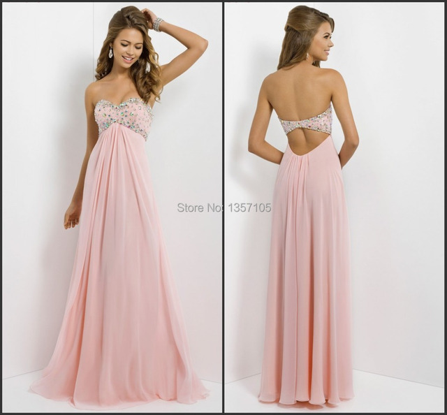 Angelic Sweetheart Beaded Empire Flowy Chiffon Blush Prom Dresses ...