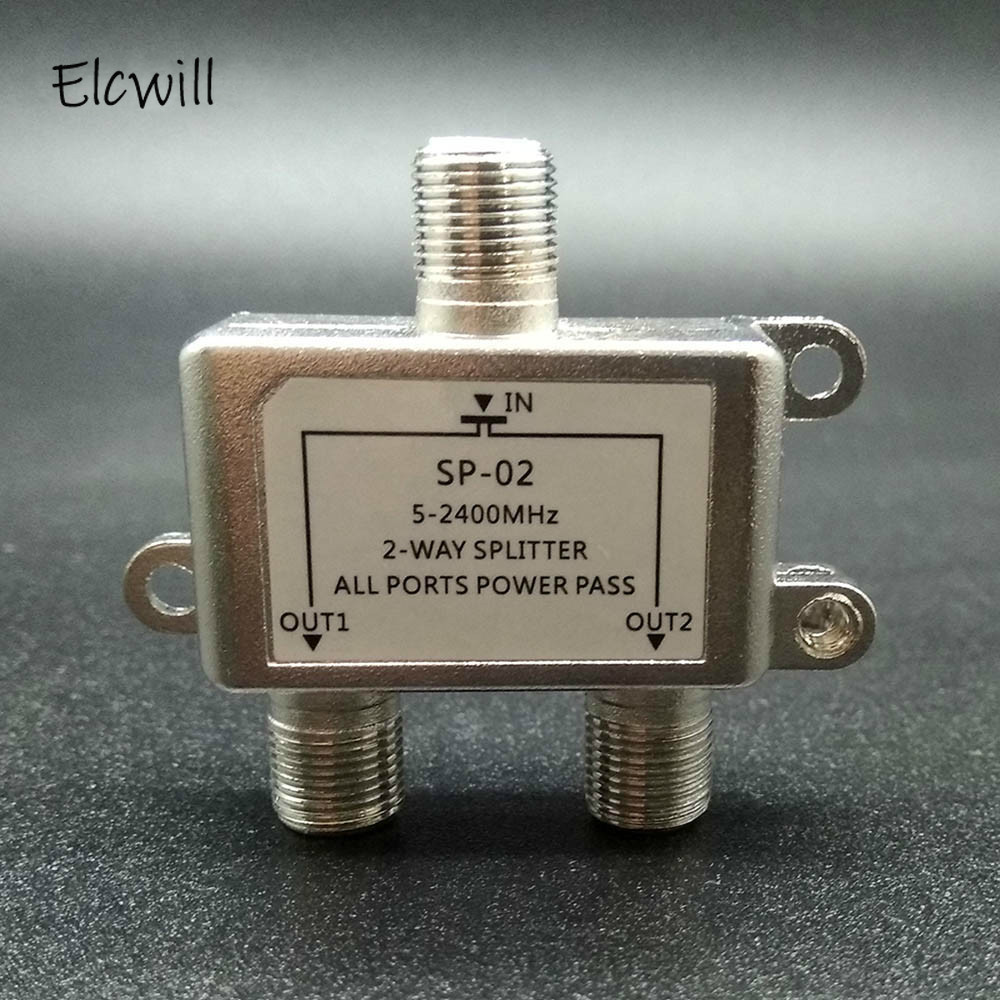 2 Ways TV Satellite Splitter 5-2500MHz Satellite TV Signal Receiver Designed Sat Coaxial Diplexer Combine For SATV/CATV