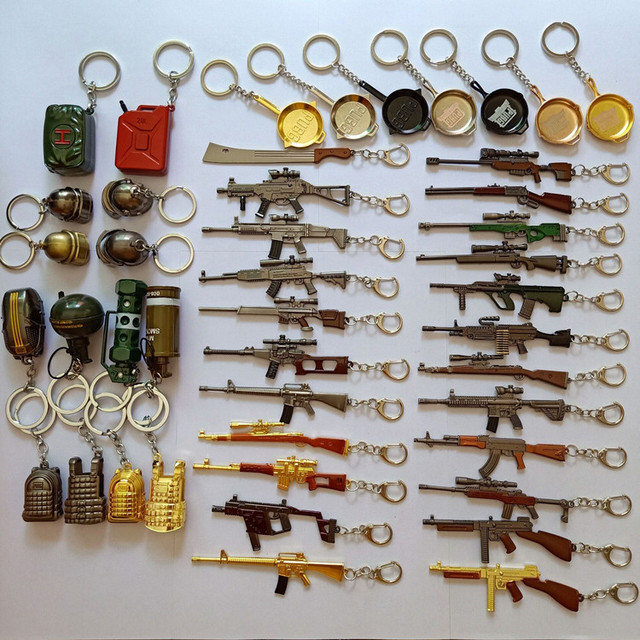Game PUBG Keychain AWM 98K Pan ALL Rifle Model Cosplay Props Alloy Armor Key Chain