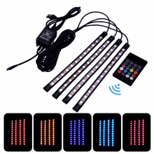 Car Auto USB Music Control RGB LED Strip 12LED 5050 SMD Voice Controller Flexible Light LED Tape Home Decoration Atmosphere Lamp