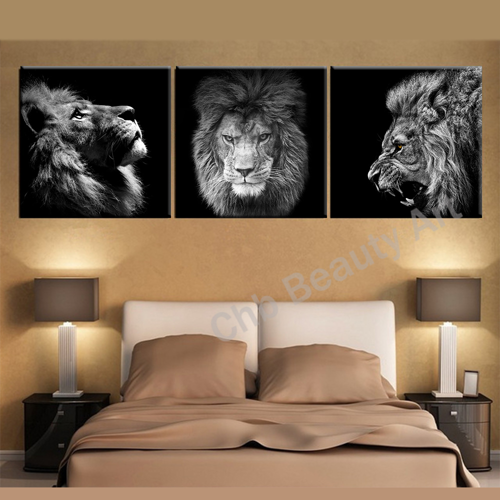 Lion Wall Art 3 Panels Lion King Canvas Art Modern Abstract Painting Wall