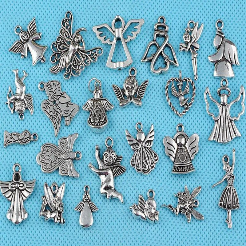 Mixed  Vintage Silver Prayer Angel Hollow Flying Charms Pendant For Jewelry Making Bracelet Necklace Gifts DIY 60PCS Z455
