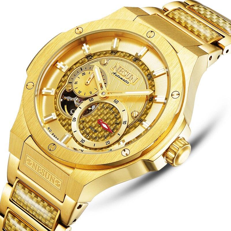 Здесь продается  Switzerland Luxury Brand NESUN Watch Men Skeleton Auto Self-wind Mechanical Men relogio masculino Waterproof clock N9908-3  Часы