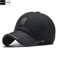 [NORTHWOOD]Classic Warm Winter   Baseball     Cap   Men Snapback Hat With Earflap Gorras Para Hombre Winter Trucker   Cap   Brand Fitted Hat