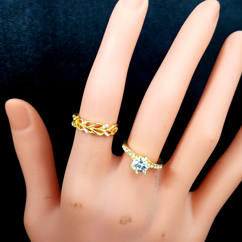 10Pcs Women's Rings New Design Mixed Styles Gold and SilverZircon Wholesale Rings Lots Female Jewelry Bulks Lot LR4161 5