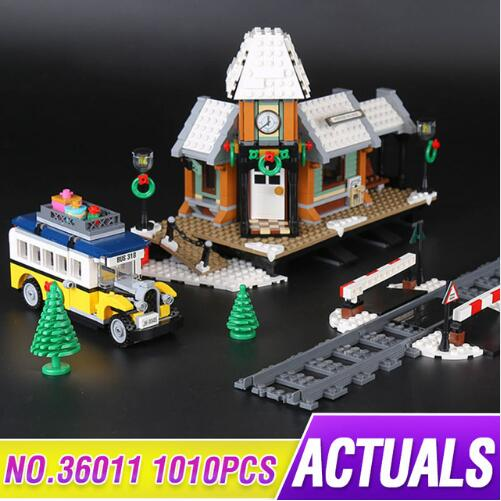 Lepin 36011 1010Pcs Creative Series The Winter Village Set Building Blocks Bricks Educational Toys for Children Gift lepin 42010 590pcs creative series brick box legoingly sets building nano blocks diy bricks educational toys for kids gift