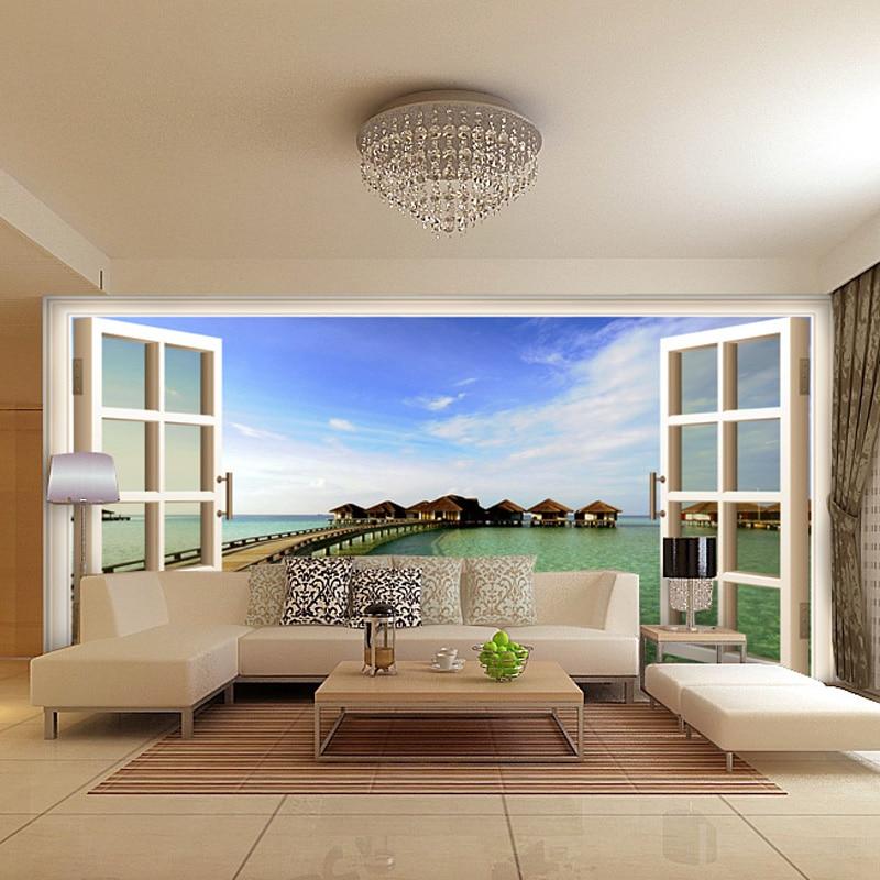 window 3d sofa wall tv living backdrop study mural spatial background modern ocean paper bedroom covering elements false landscape stickers
