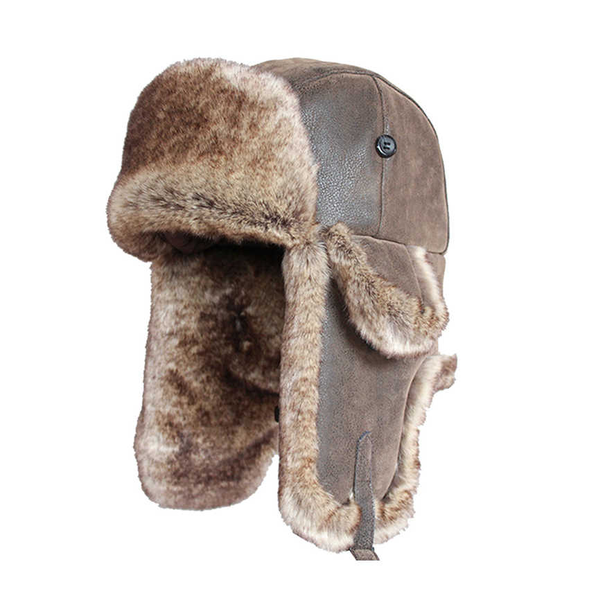 4d11dae88f2 Bomber Hats Faux Rabbit Fur Russian Ushanka Vintage PU Leather Earflap  Aviator Trapper Men Women Winter