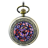 Flowers Skeleton Bronze Automatic Mechanical Pocket Watch Men Vintage Hand Wind Clock Necklace Pocket & Fob Women Watches Clock