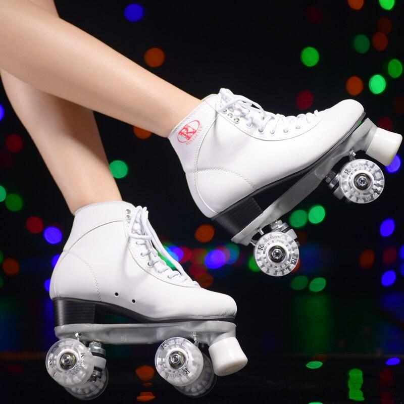 Белый роликовые коньки с белой светодиодной Освещение Колёса двойная линия коньки для взрослых Racing 4 Колёса два линию роликовых коньках Обу