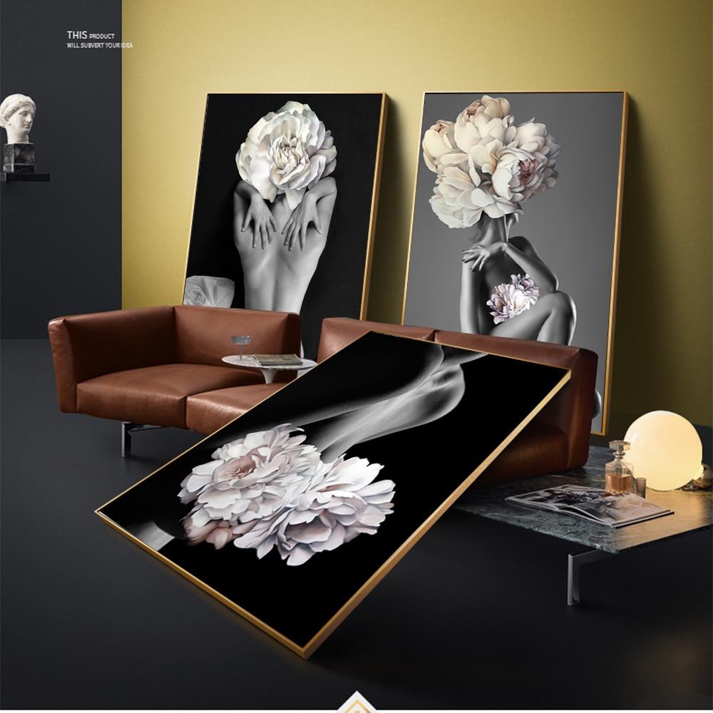 WANGART Große Größe Poster und Drucke Blumen Feder Frauen Ölgemälde Leinwand Wand Bilder für Wohnzimmer Hause Dekoration jy74