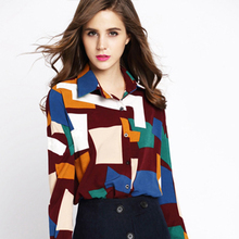 Hot Selling New Arrival Women Shirt 2016 Autumn Winter Long Sleeved Blouse Geometric Print Slim Thick Warm Bottoming Shirt