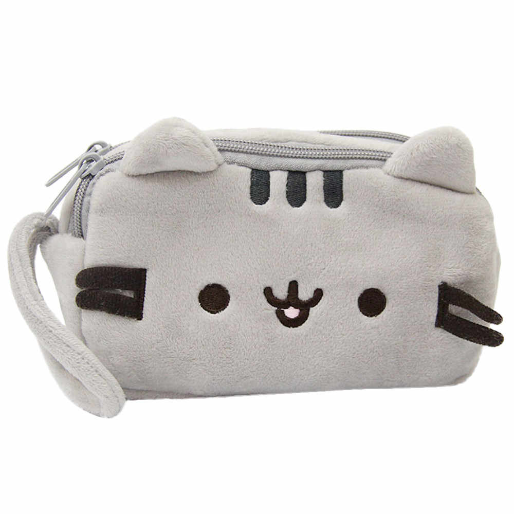 Cute Cat Cartoon Pencil Case Cute Plush Pen Bag Large Capacity  Makeup Pouch Cosmetic Bag Kid Stationery Gift Handbag