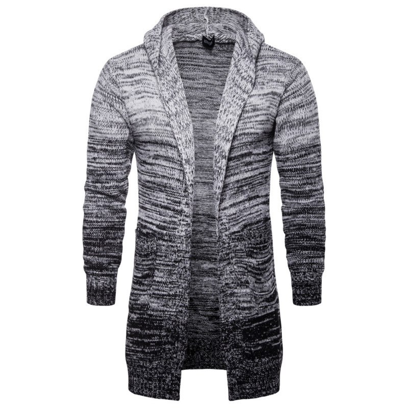 Autumn Winter Knitting Mens Knitwear Sweaters Hooded Cardigan Long Gradient Gray Casual Fashion Sweater Male Tops