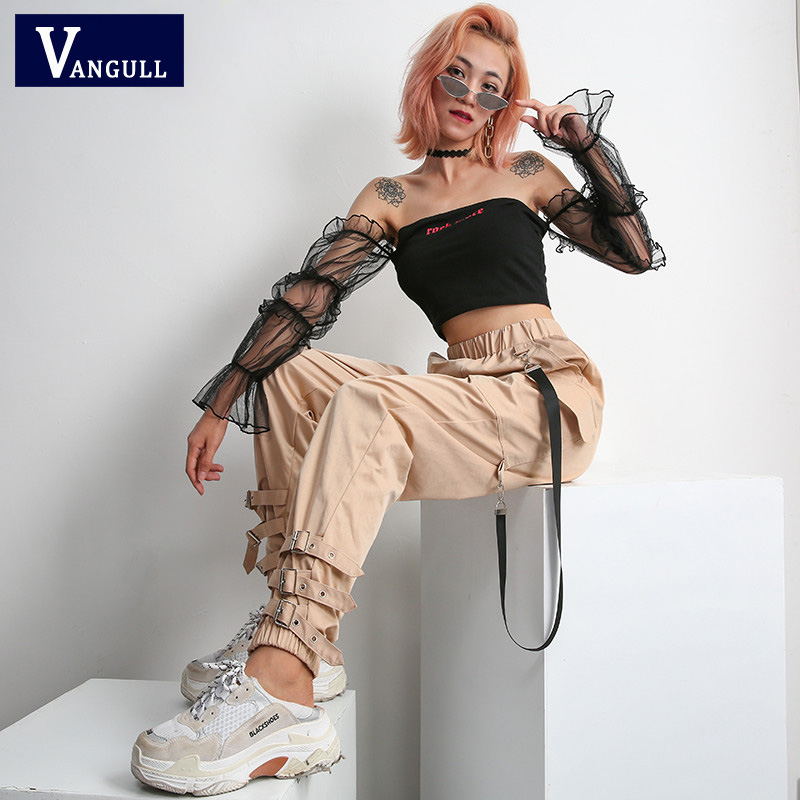 Vangull Streetwear Khaki Casual Cargo   Pants     Capris   Women Elastic High Waist Joggers Buttons Fashion Hip Hop Long Trousers New