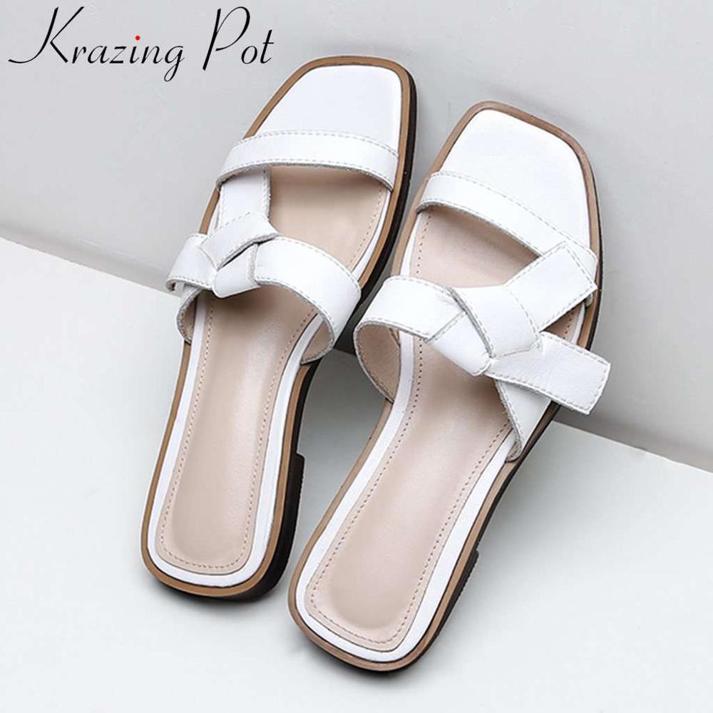 Krazing หม้อ plus ขนาดจริง cow หนังผู้หญิงรองเท้าแตะรองเท้าส้นสูง Hollywood movie star กระชับ clubwear ฤดูร้อนรองเท้า l77-ใน รองเท้าส้นสูงเตี้ย จาก รองเท้า บน   1