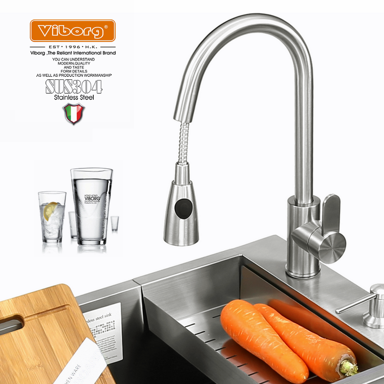 Hongkong 304 stainless steel faucet kitchen bolvic dish basin intercooled tap hot and cold drawing