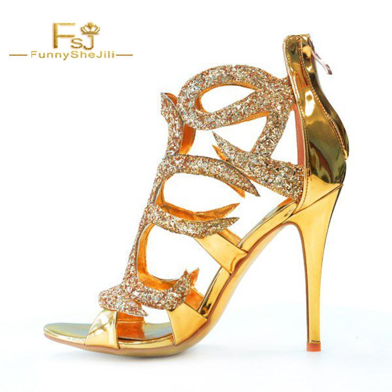 2ca5dd47629 Gold Evening Shoes Cage Sandals 5 Inches Stiletto Heels Glitter Shoes FSJ  Zipper Buckle Fashion Crystal Woman Shoes Sandal Sexy