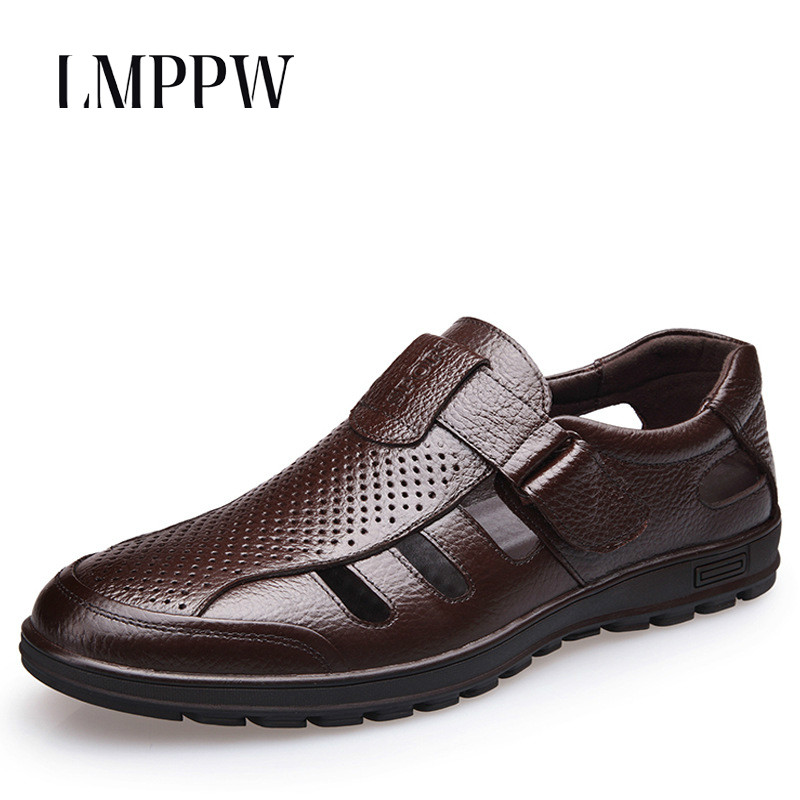 33608d972e9 Summer Men s Leather Hollow Sandal Hole Breathable Casual Men s Shoes Soft  Bottom Cool Shoes Men Luxury Sandals Black Brown 2A