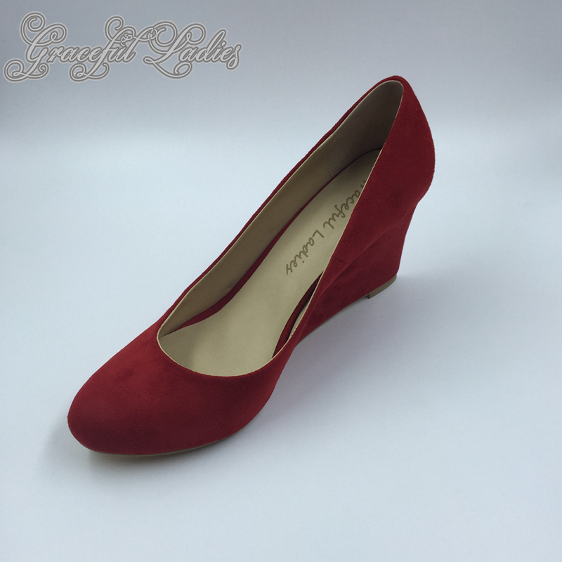 Red Women Wedge Pointed Toe Slip-ons High Heels Size 34 Suede Leather Plus Size Custom Size Ladies Causal Shoes Spring Pumps