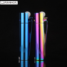 Retro Fire Slim MINI Windproof Lighter High Quality Metal Isqueiro Flameless Torch Lighters Cigarette case Men Gifts With Box