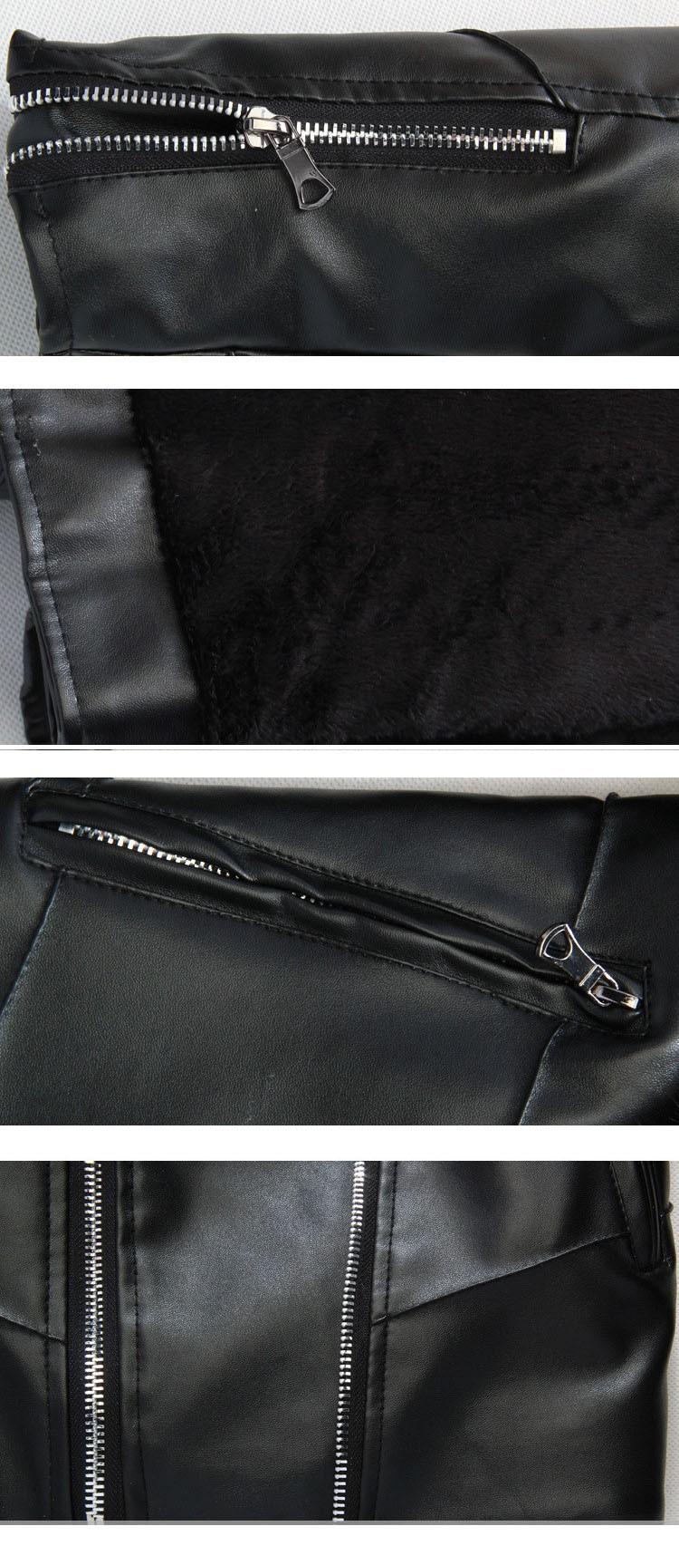 Leather jacket men fur coat biker jacket motorcycle 2015 fashion famous brand slim men leather jacket with fur collar5