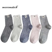 Morematch 1Pair Cute Robot Label Winter Men Warm Socks Solid Color Over Ankle Comfortable Cotton Leisure