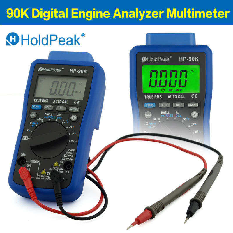 HoldPeak DC/AC Digital Engine Analyzer Multimeter Tester Car Diagnostic Tool  ms-PULES Tach Dwell with Data Output by USB 90K
