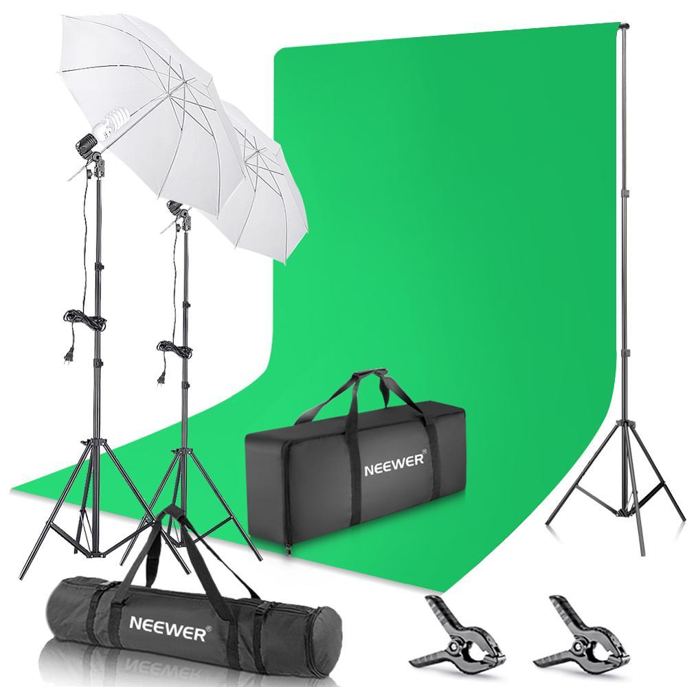 Tüketici Elektroniği'ten Fotoğraf Stüdyosu Aksesuarları'de Neewer Fotoğraf Zemin 400W 5500K Sürekli Şemsiye Stüdyo aydınlatma kiti 6x9 feet Muslin Chromakey Yeşil Ekran ve standı