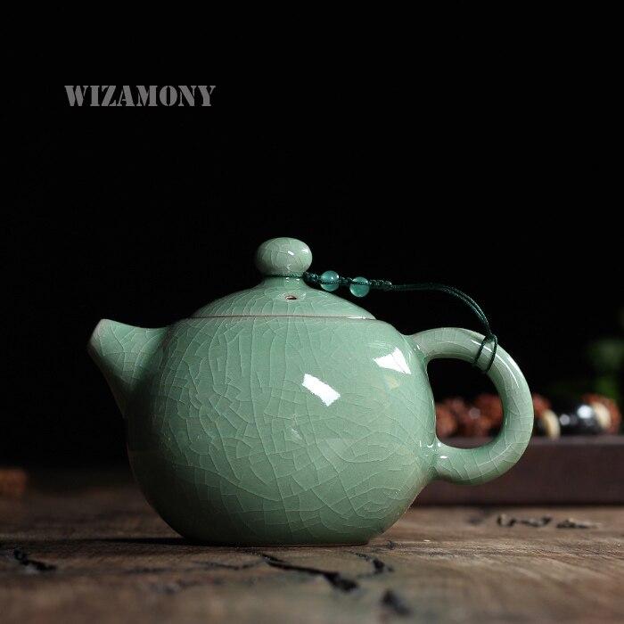 230 мл жаркий треск глазури брат печи Longquan цвет морской волны Zisha керамика декоративно большой Ёмкость исин глины античный фарфоровый чайник