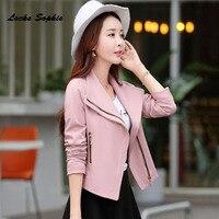 1pcs Womens Plus Szie Jacket Coats 2018 Spring Cotton Blend Irregular Zipper Small Suit Jacket Ladies