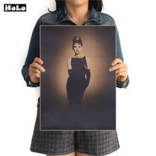 Black White Old Audrey Hepburn Photo Vintage Kraft Paper Poster Bar Cafe Retro Decorative Painting Sticker FAD 42.5x30.5cm(China)