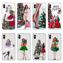 Vogue Christmas girl Soft TPU Phone Case For iPhone 5 SE 6 6s 7 8 Plus Lovely Santa Claus Elk X clear Silicone Covers