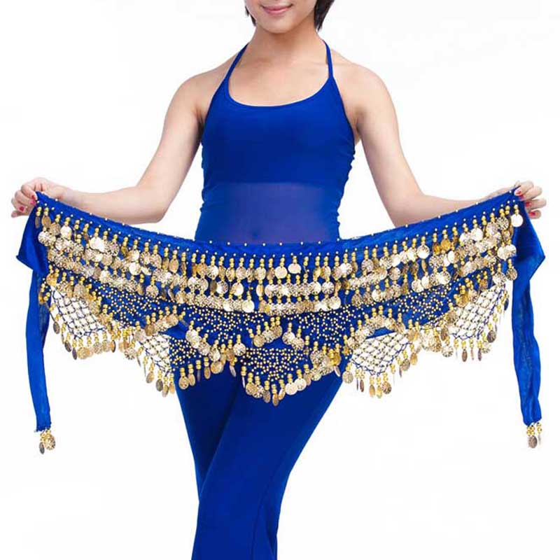 2020 Neues Bauchtanzzubehör Tanzen tragen Hüfttuch Pfau Kostüme für Frauen Indischer Bauchtanzgürtel 320 GoldmünzenGRS-372