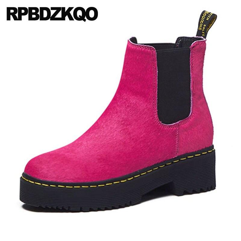 Punta Mujeres Zapatos Botines Alta En Otoño rosy Chelsea Negro Damas Redonda Crin La Invierno Deslizamiento Botas Planos 2018 Calidad Red Negro Corto 6fgIyqvYSB