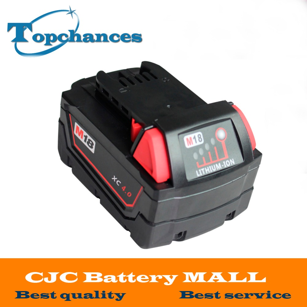 New Rechargable 18V Li-Ion 4000mAh Replacement Power Tool Battery for Milwaukee M18 XC 48-11-1815 M18B2 M18B4 M18BX Li18 18v li ion 3000mah replacement power tool battery for milwaukee m18 xc 48 11 1815 m18b2 m18b4 m18bx li18 with power charger