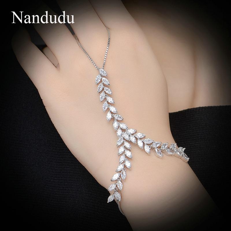 Nandudu divatos tenyér karkötő AAA cirkónium levél lánc karkötő fehér arany színű karika beállítása luxus ékszer ajándék R979