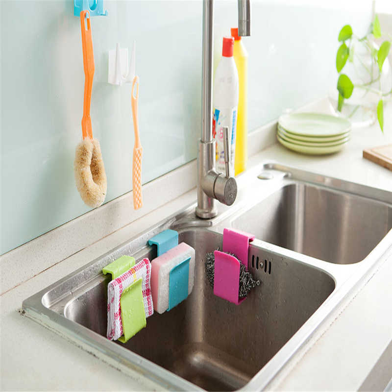 Kitchen Storage Rack Towel Soap Dish Holder Kitchen Bathroom Sink Dish Sponge Storage shelf Holder Rack Robe Hooks Sucker-in Racks & Holders from Home & Garden